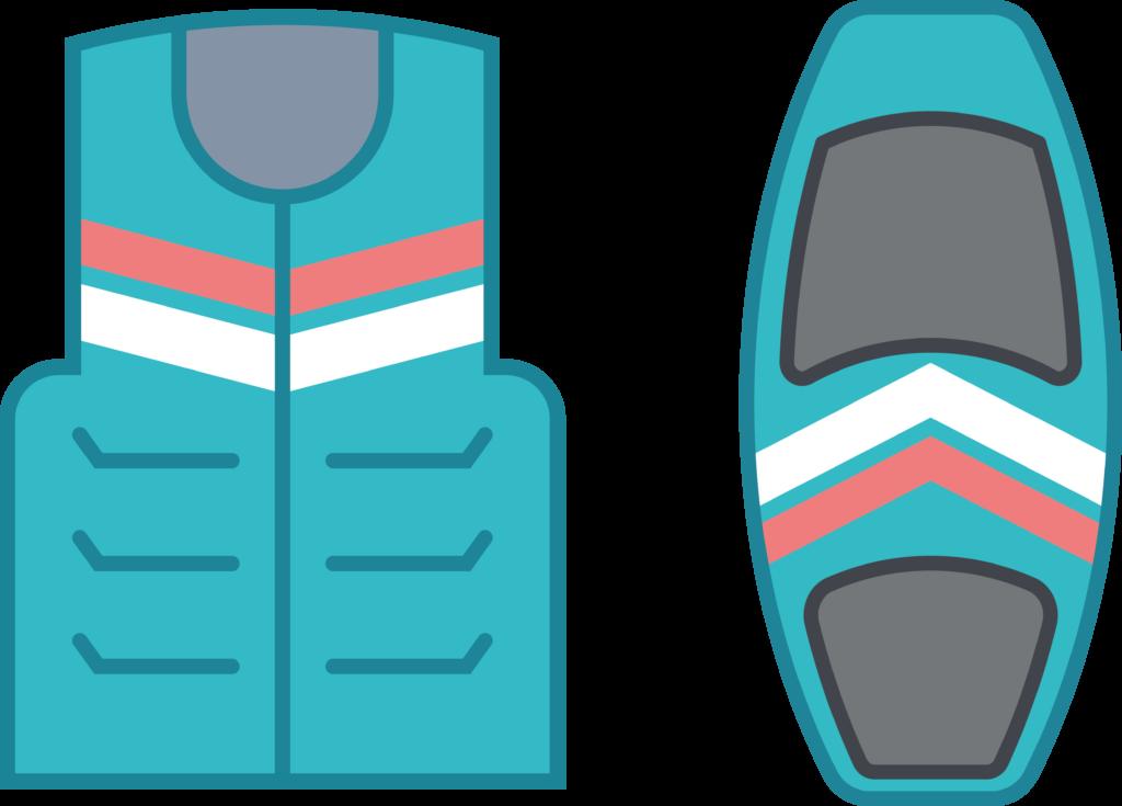 planche wakeboard et gilet de flottaison